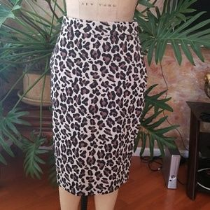 Anthropologie Leopard Print Pencil Skirt